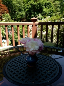 Peonies on the deck