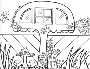 Mushroom Mansion Coloring Page