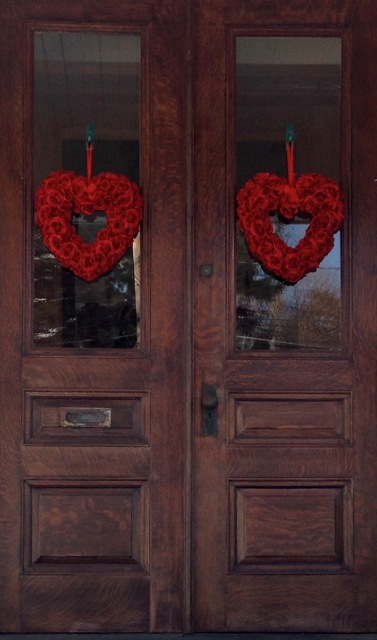 red heart wreaths