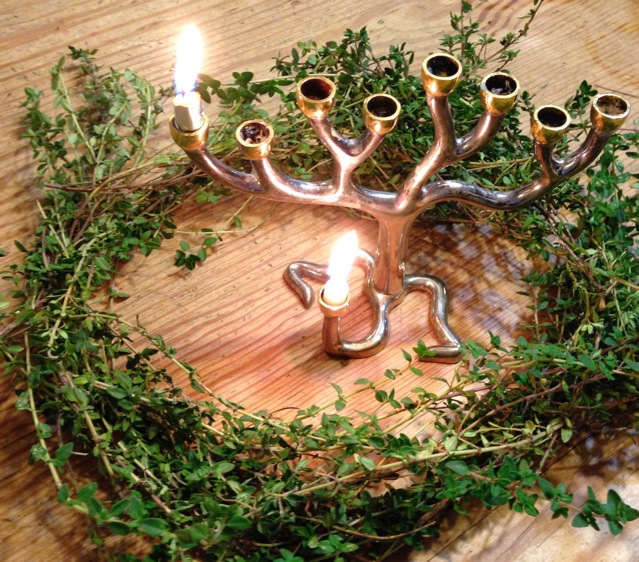 Menorah with thyme wreath