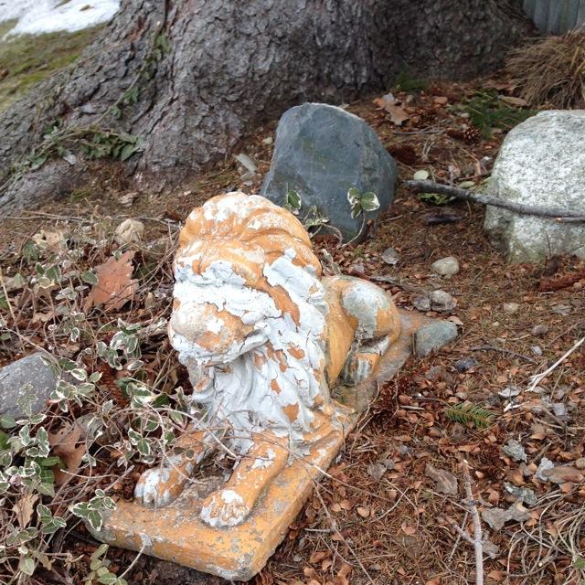 Worn Lion statue