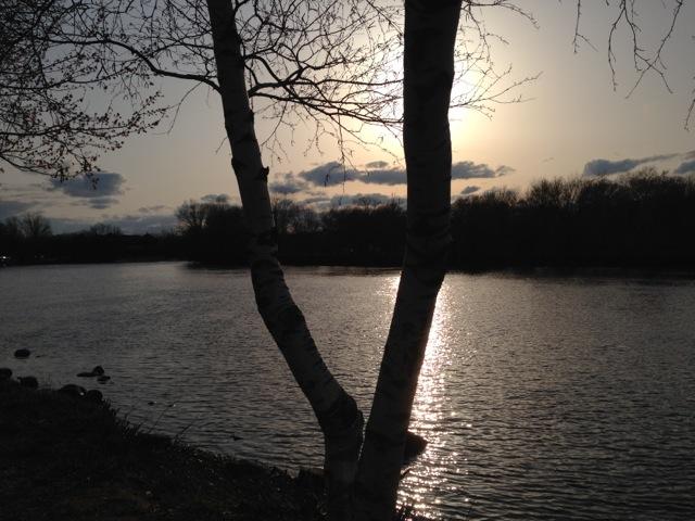 Setting sun river