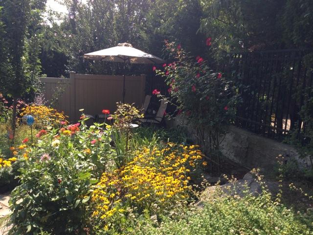 Bronxville garden and umbrella