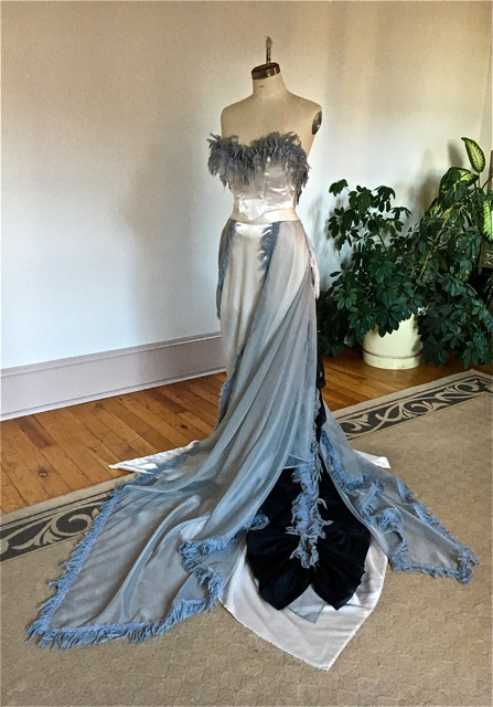 Faux feathered luxe gray and cream strapless ballgown