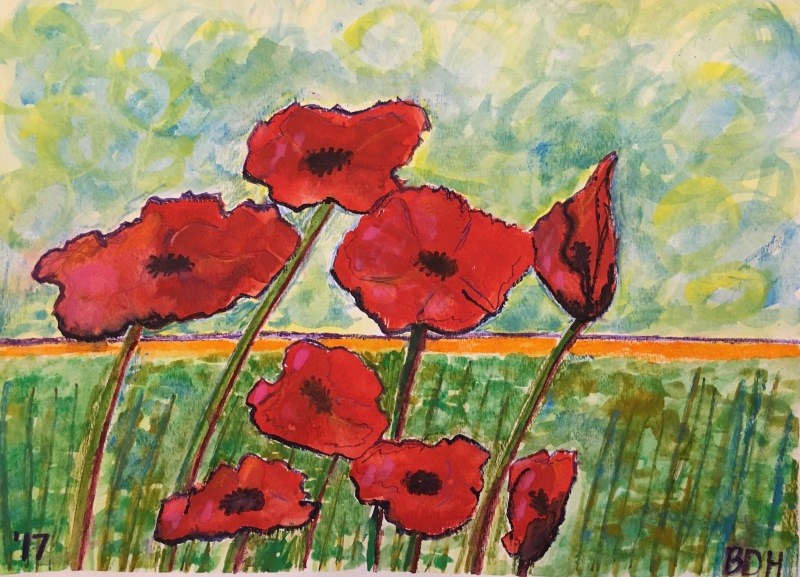 Watercolor of red poppies